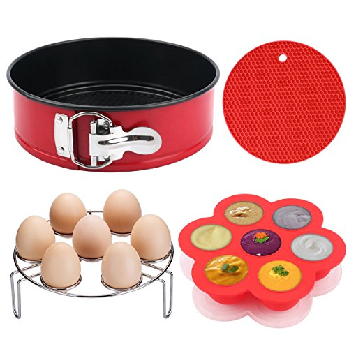 "Instant Pot Accessories, MCIRCO Instant Pot Accessories Set, 7""Non-stick Leakproof Cake Pan - Silicone Egg Bites Molds with Lids and Bonus Egg Steamer Rack - Fits Instant Pot 5,6,8 qt Pressure Cooker"