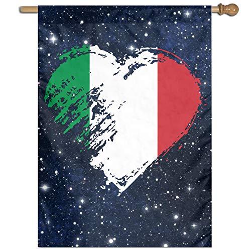 MKLNHBGFCH37 I Love Italian Heart Flag Welcome Garden Flag Yard Flag Family Flag 27