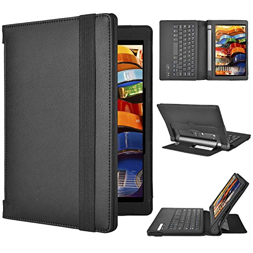 Lenovo YOGA Tablet 3-10 QWERTZ Tastatur, ELTD Bluetooth Tastatur (QWERTZ Tastatur) für Lenovo YOGA Tablet 3-10, Not für Lenovo YOGA Tablet 3-10 Pro - mit Standfunction, Schwarz