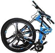 OBK Full Suspension Folding Bike 26 Inch 21 Speed Dual Disc Brakes Mountain Bike Foldable Steel Frame Bicycle
