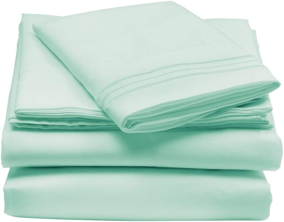 mDesign Twin Size Superfine Brushed Microfiber Sheet Set - 3 Pieces - Extra Soft Bed Sheets and Pillowcase - Easy Fit Deep Pockets - Wrinkle Resistant, Comfortable, & Breathable - Mint Green