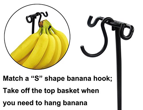Review ESYLIFE 2 Tier Fruit Basket with Banana Hanger Multifunctional Rack for Vegiess, K-Cups, Snacks