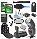 Super Accessory Kit For Canon Rebel T5i/T4/T3i with Battery Grip + Extra Battery + Flash + 2 PC 32 GB SD Cards + Backpack