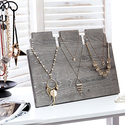 MyGift Distressed Gray Wood Multi-Tiered Necklace Display Stand by MyGift