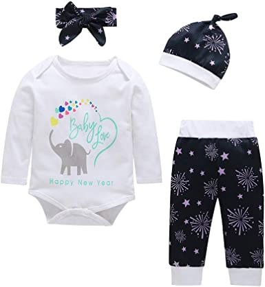 Elephant Pant+Hat+Headband Outfits Set 4PCs Infant Baby Boy Letter Print Romper