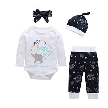 492345f78d94 Amazon.com   4PCS New Year Set For Newborn Baby Long Sleeves Letter ...