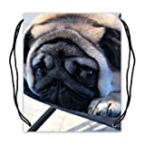 Lightweight Pug Puppy Basketball Drawstring Bags Cinch Sack Backpack Bag (Twin Sides)