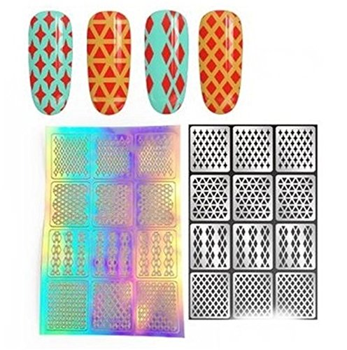 1 Sets DIY Stencil Nail Art Sticker Water Transfer Nails Wrap Paint Tattoos Stamping Plates Templates Tools Tips Kits Good-looking Popular Xmas Christmas Winter Stick Tool Vinyls Decals Kit, Type-02 ()