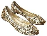 Plaid&Plain Women's Solid Sequins Round Toe Slip On Low Cut No Heels Flats Pumps Shoes Gold 39
