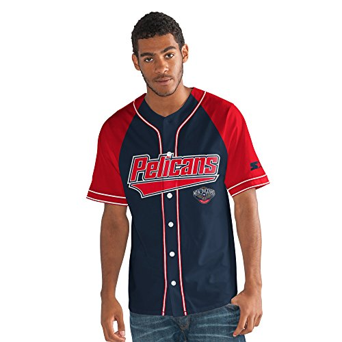 NBA New Orleans Pelicans Men's The Player Baseball Jersey, XX-Large, Navy