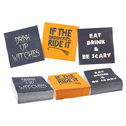 150-Pack Halloween Beverage Paper Napkins in 3 Assorted Fun Designs, 3-Ply, 50 of Each - Orange, Black, 10 x 10 Inches Unfolded, 5 x 5 Inches Folded by Blue Panda