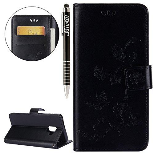 Funda Samsung Galaxy A8 Plus,SainCat Funda de cuero sintético tipo billetera con correa de cordón de Suave PU Carcasa Con Tapa y Cartera,Carcasa de Cuero Suave PU Leather de piel mariposa Funda Wallet Negro