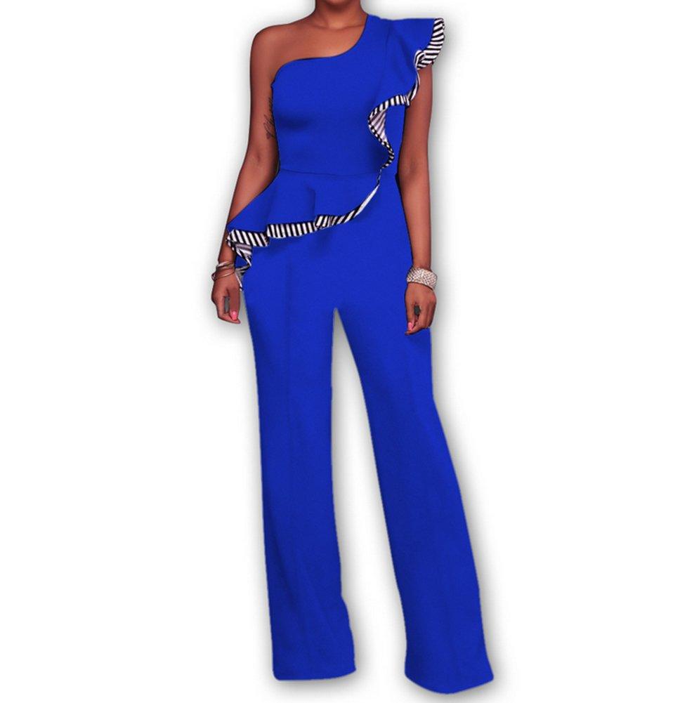 Women's Sexy Off One Shoulder Ruffle Clubwear Long Wide Leg Pants Jumpsuit Romper Blue Small