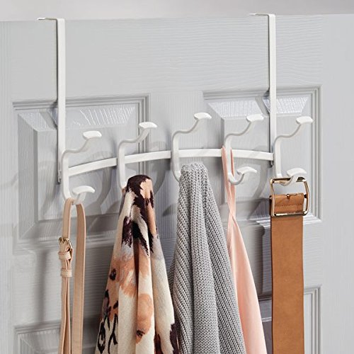 mDesign Spa Over The Door 10-Hook Rack for Coats, Hats, Robes, Towels - Matte White