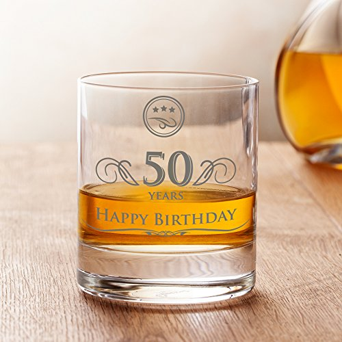 AMAVEL Whiskey Glass - 50th Birthday - Elegant Tumbler - 50 years - Standard - Perfect Birthday Gift for Men - Capacity 10 - Birthday Celebration Glass