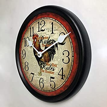 Hens Rule Wall Clock, Available in 8 Sizes, Most Sizes Ship 2-3 Days, Whisper Quiet.