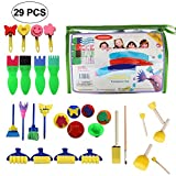 Paint Sponges for Kids, 29 pcs Foam Paint Brush Set Early DIY Learning Kids Art & Craft Tools Include Flower Pattern Brush Paint Stamps Foam Paint Roller for Toddlers