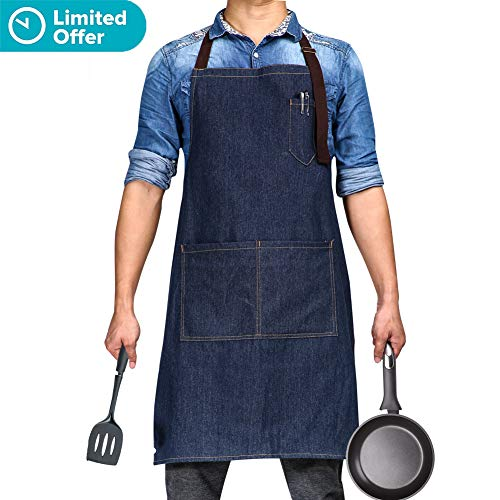 "Adjustable Bib Apron with 3 Pockets - Denim Jean Kitchen Aprons for Women and Men 32 x 27"" Gift for Chef Cooking Artist Painting Grill Carpenters Gardener by BOHARERS"