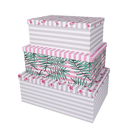SLPR Decorative Storage Cardboard Boxes (Set of 3, Tropical) | Nesting Gift Boxes with Lid for Keepsake Toys Photos Memories Closet Nursery Office Bedroom Decoration