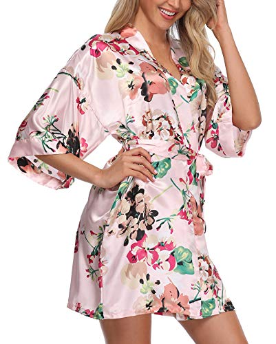 Giova Women's Floral Kimono Robe Short Flower Print Dressing Gowns Bride Bridesmaids