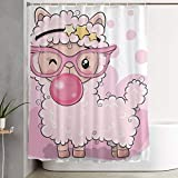 MOANDJI Funny Fabric Shower Curtain Pink Alpaca with Bubble Gum Waterproof Bathroom Decor with Hooks 60 X 72 Inch