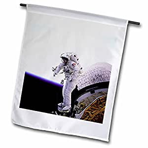 Sandy Mertens Space Gallery - Astronauts and Rockets - Astronaut Standing on the Edge - 18 x 27 inch Garden Flag (fl_76858_2)