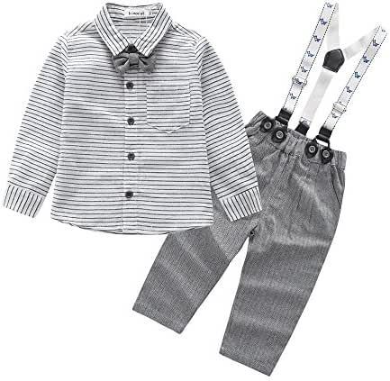 Casual Suit for Toddler Boys Bowtie Striped Shirt and Suspender Straps Pant Outfits