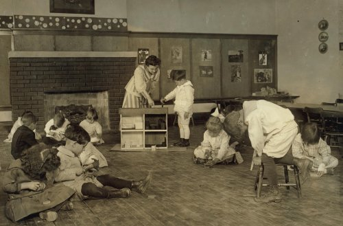 1917 child labor photo: Kindergarten children in Horace Mann School working on doll houses. See Bliss report. Location: Tulsa, Oklahoma / Lewis W. Hine. Vintage 8x10 Photograph - Ready to Frame