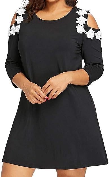 POLP Vestidos Cortos Mujer Vestido otoño Mujer Casual,Vestido Manga Larga Mujer,Tallas Grandes Vestidos de Fiesta,Mujer Vestido Estampado de Gasa, Camisa Manga Larga Mujer Negra: Amazon.es: Ropa y accesorios