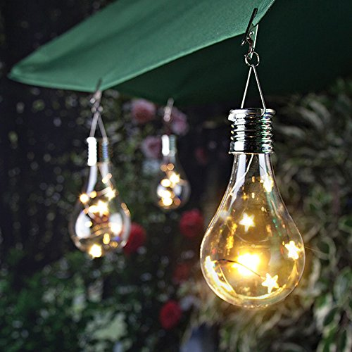 (sun·light Waterproof Solar Rotatable Outdoor Garden Camping Hanging Stars Led Light Lamp Bulb Solar Light Bulb Attaches to Patio Umbrella Awning (Yellow))