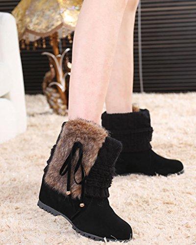 Minetom Damen Winter Mode Stiefeletten Kaninchenfell Wasserdicht Keil Flache Schuhe Warm Schneestiefel Schwarz