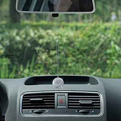 Bling Crystal Ball Car Rear View Mirror Charm,Crystal Sun Catcher Ornament,Car Charm Decoration, Bling Car Accessories,Rhinestone Hanging Ornament for Car & Home Decor (Crystall Ball - White): Automotive