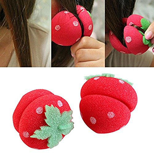 CCbeauty 18 pcs Strawberry Hair Care Foam Soft Round Sponge Balls Curlers Hair Roller Bun Tool