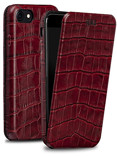 Sena Magnet Flip, Handmade all leather Vertical Flip case for the iPhone 7 - Croco Red