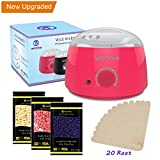 Hair Removal Wax Warmer Kit - Hair Removal Electric Hot Wax Warmer Waxing Kit Wax Melts Machine With 3 Packs of Different Flavors 3.5 oz Hard Wax Beans (Pink)