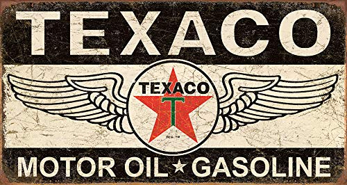 Desperate Enterprises Texaco Winged Logo Tin Sign, 16