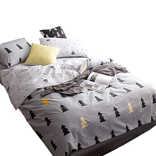 EnjoyBridal Cartoon Trees Teens Duvet Cover Sets Full Cotton Kids Comforter Cover Queen with 2 Pillow Shams Boys Girls Bedding Sets Zipper for Home Grey Bedding with 4 Corners Ties, No Comforter ()