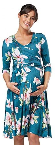 des Double 609p Manches 4 avec Robe d'allaitement Couche 3 Femme Happy Fleurs Vert Mama Maternit wqzvOR