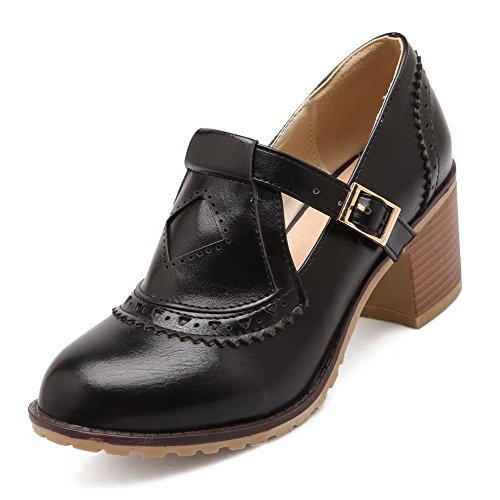 VogueZone009 Women's Round Closed Toe Kitten-Heels Soft Material Solid Buckle Pumps-Shoes Black 4uMZYd1u9