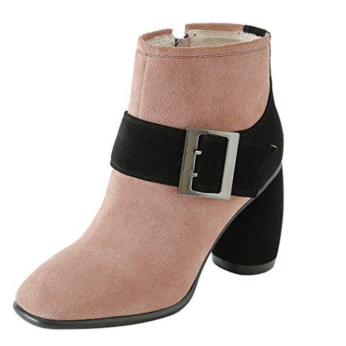 cortos para Tacones mujer qin CXQ cabeza con Botines redonda tacón Rosa Zapatos de block Boots X wvT0F