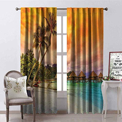 Mountain Turquoise Nugget - GloriaJohnson Beach Shading Insulated Curtain Mountain Beach and Palm Trees Golden Clouds at Sunset Romantic View Image Soundproof Shade W52 x L95 Inch Orange Turquoise Ivory