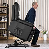 Merax Power Recliner and Lift Chair in Black PU leather Lift Recliner Chair, Heavy Duty Steel Reclining Mechanism