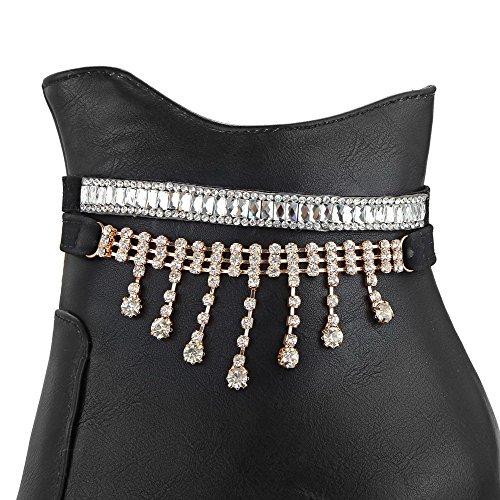 AllhqFashion Mujeres Tacón ancho Caña Baja Tachonado Botas con Diamante de Imitación Negro