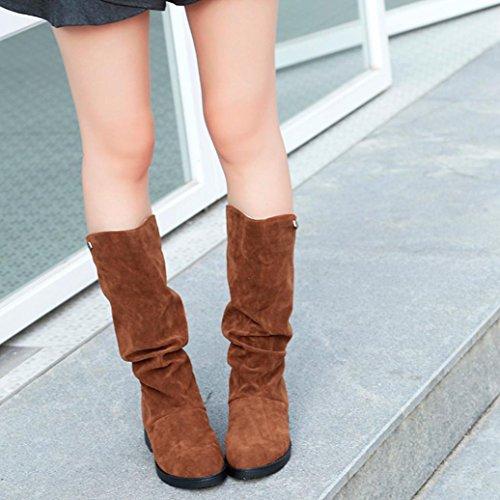 Bottes De Neige Dhiver Des Femmes Dinkach - Chaussures De Botte Slouchy De Mi-mollet - Hautes Bottes Dhiver Déquitation De Plat De Tube Brun