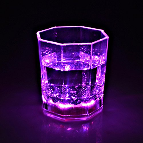 I-Fashion Flashing Light Up Wine Glasses with LED Glowing Lights Wine/Beer Cup for Nightclub Bar Birthday Party KTV Christmas 7 Colors 170ML (Pink) -