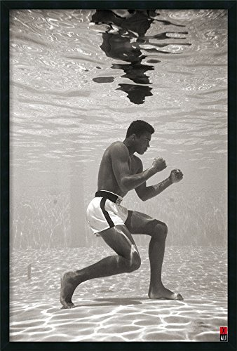 Buyartforless Framed Gel-Coated Muhammad Ali Under Water 36x24 Sports Photograph Art Poster Print Training Boxer Boxing Legend Icon