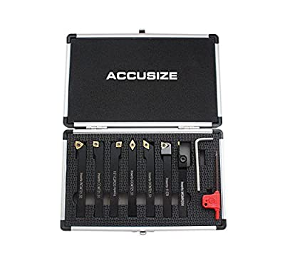 AccusizeTools - 7 Pieces/Set 3/8'' Indexable Carbide Turning Tools, #2387-2003