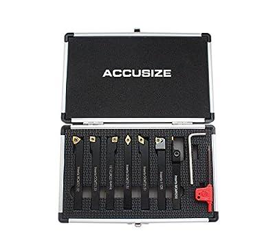 AccusizeTools - 7 Pieces/Set 3/8'' Indexable Carbide Turning Tools, Lathe Tool Set #2387-2003