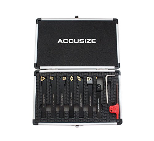 (Accusize Industrial Tools 3/8'' Shank 7 Pc Indexable Carbide Turning Tool Set in Fitted Box, 2387-2003)