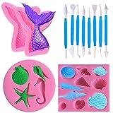 Seashell, moldes de cola de sirena y herramienta de mano para decorar fondant, moldes de fondant de silicona SourceTon 4 PCS, bono gratis con 8 PCS Kits de fondant azul para decorar pasteles, chocolate, dulces, etc.